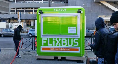 Flixbus's ticket booths in France from Karmod