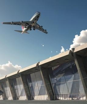 Bangunan tapak pembinaan di lapangan terbang ketiga dibina oleh Karmod.