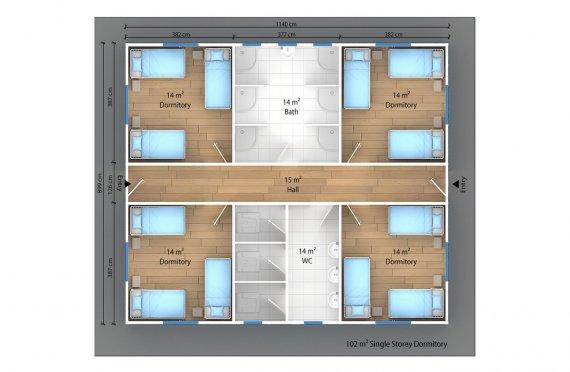Unit Kemudahan Modular 102 m²