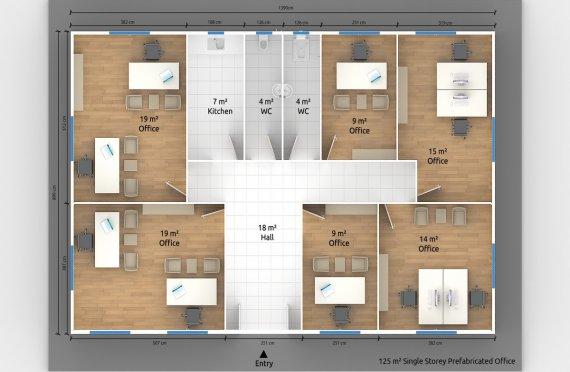 Binaan Pejabat Modular 125 m²